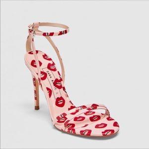 Zara Pink Lip Print Strappy High Heel Sandals 41
